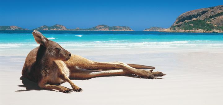 Austrálie a pláž v Perthu